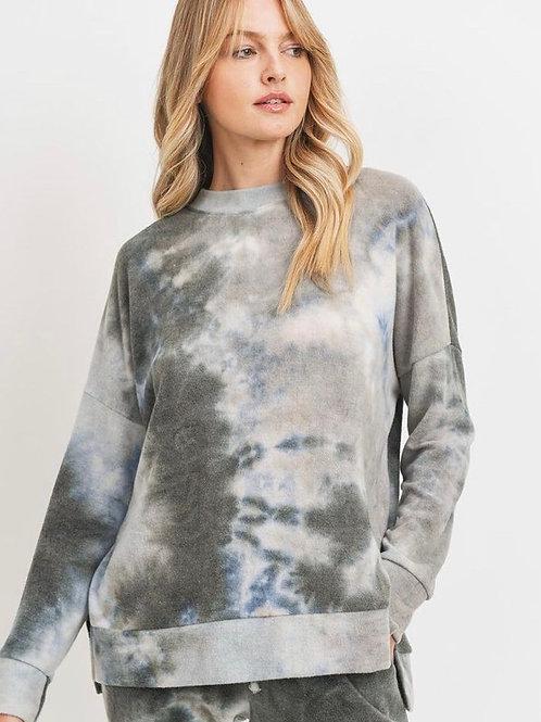 Tye Die Brushed Fleece Side Slit Sweatshirt