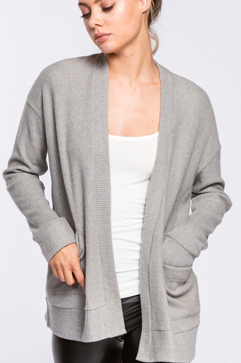 Heather Gray ribbed Cardigan