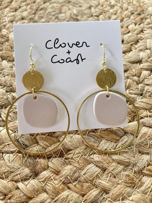 Circular clay blush hoops & brass