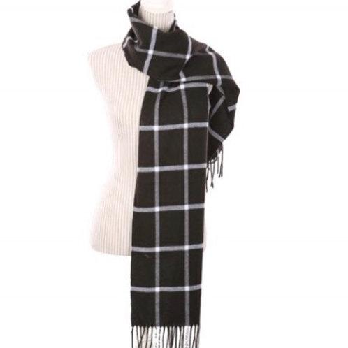 Black& White plaid thin scarf