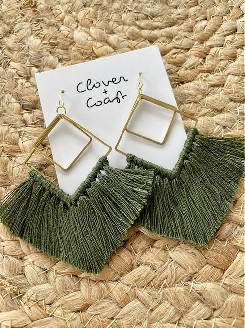 Forrest green tassel double square