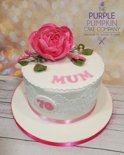 Mum, pink roses cake