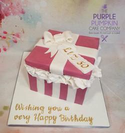 Lilac gift box cake