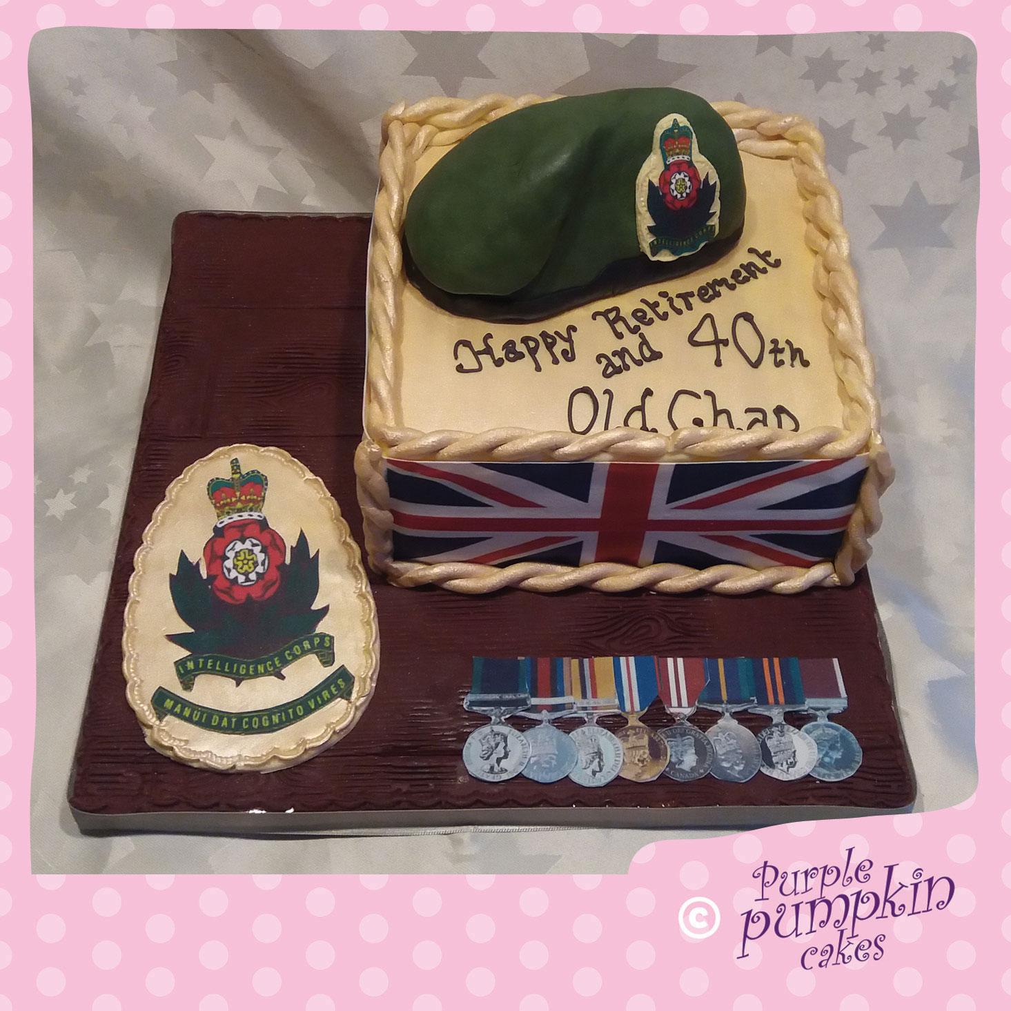 retirement army cake