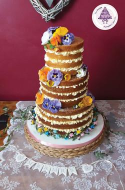 edible pansie naked cake