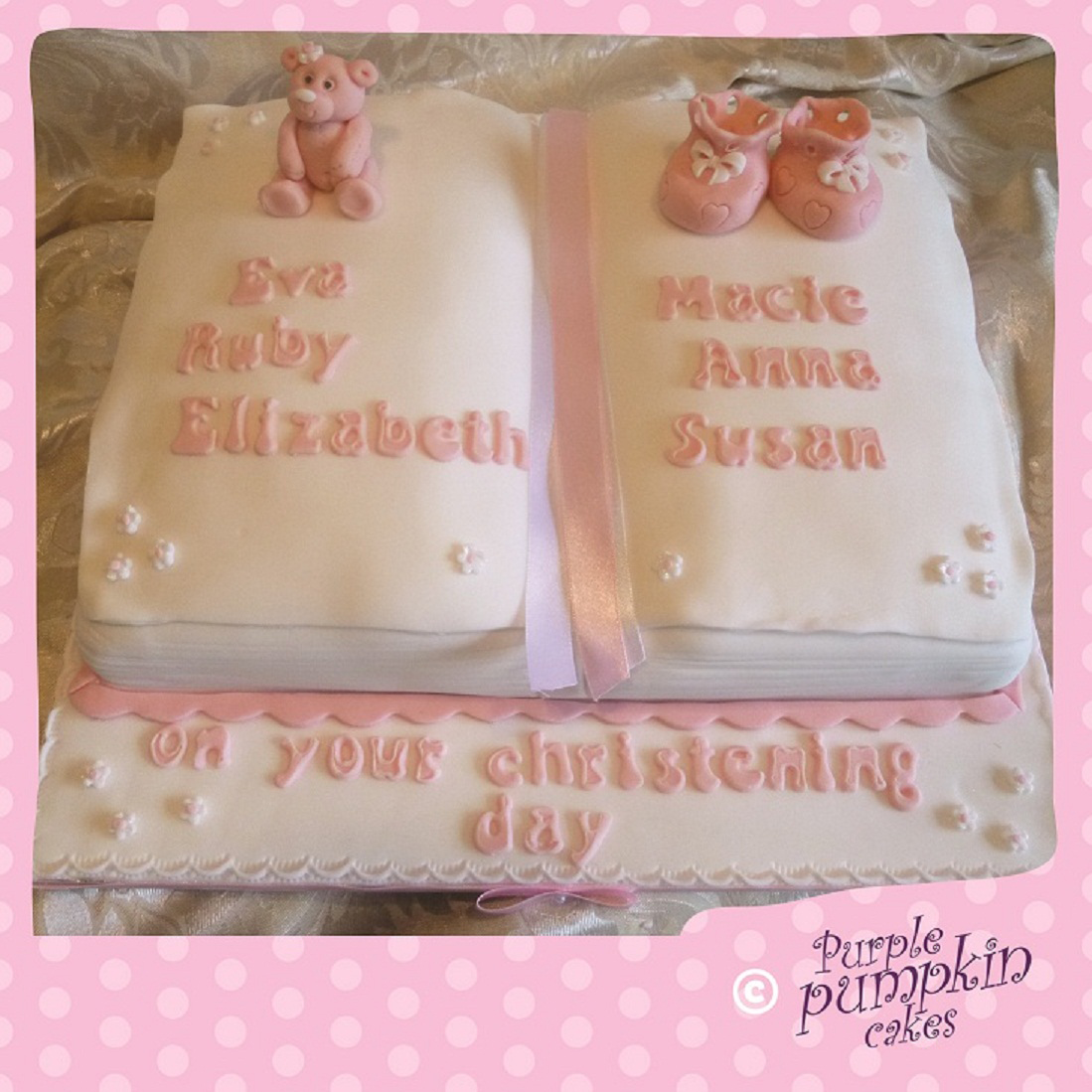 Christening Book Cake