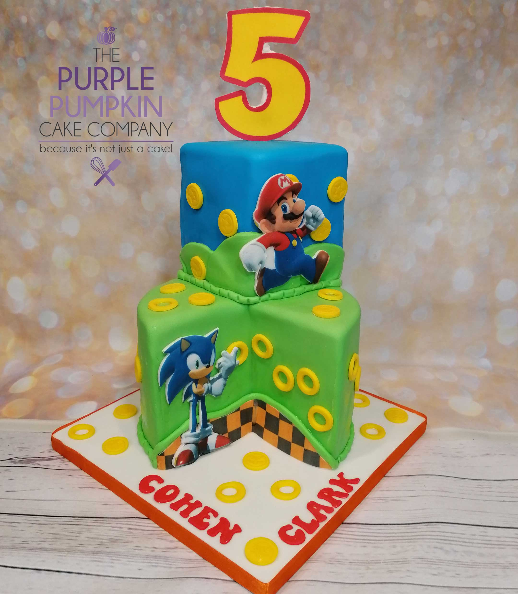 Gamer two tier cake