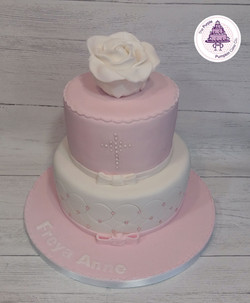 white rose two tier christening