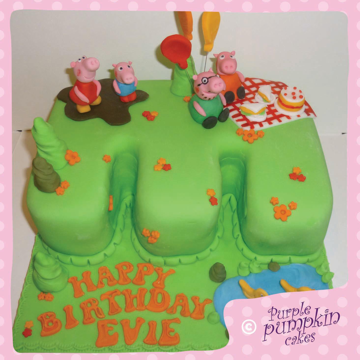 Peppa Pig Garden 3rd Birthday Cake
