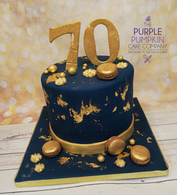 Navy and gold mens cake