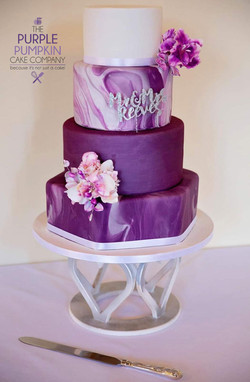 Purpleicious wedding cake