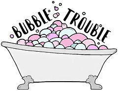 Bubble Trouble Logo, Bath with Bubbles