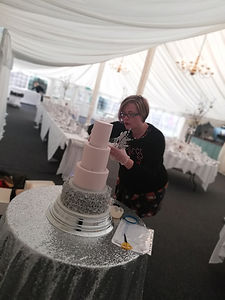 wedding cake set up at the William Cecil Stamford