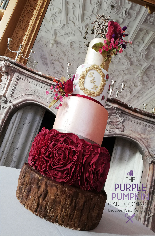 Burgundy styled cake Stoke Rochford Hotel