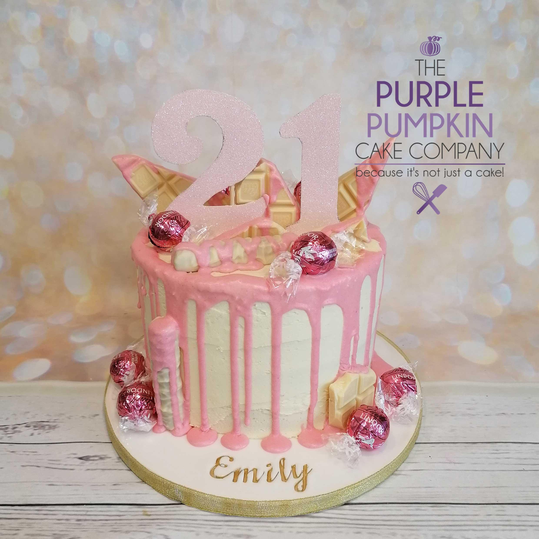 Pink twin drip cake
