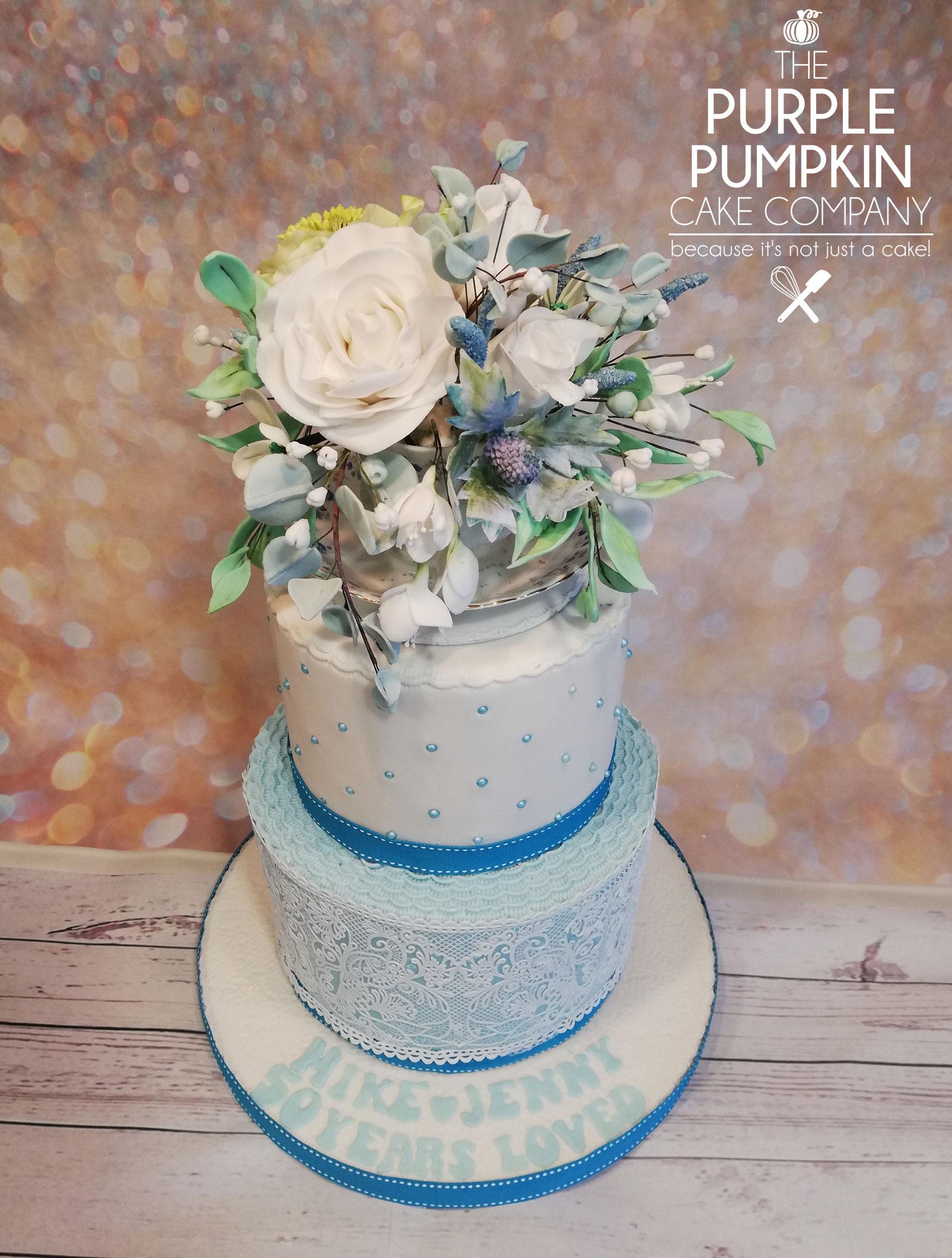 Blue tea cup Anniversary cake