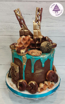 Turquoise choc donuts explosion