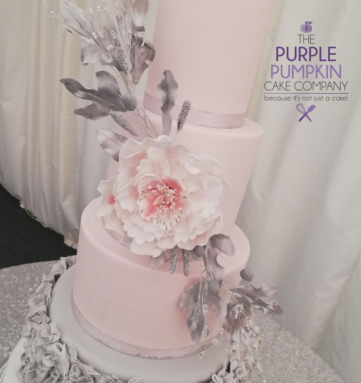 Pink and grey ruffle