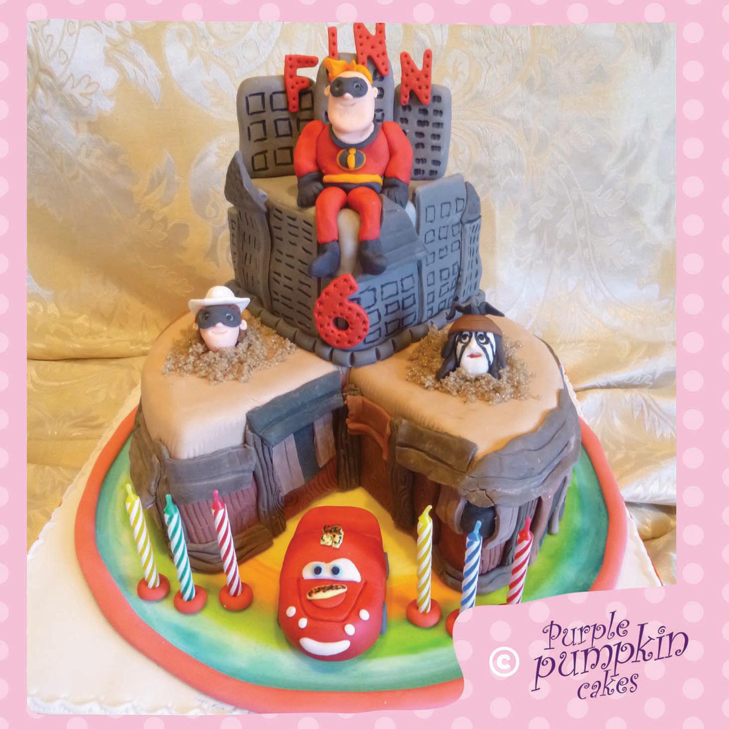 Disney infinity themed wedge cake