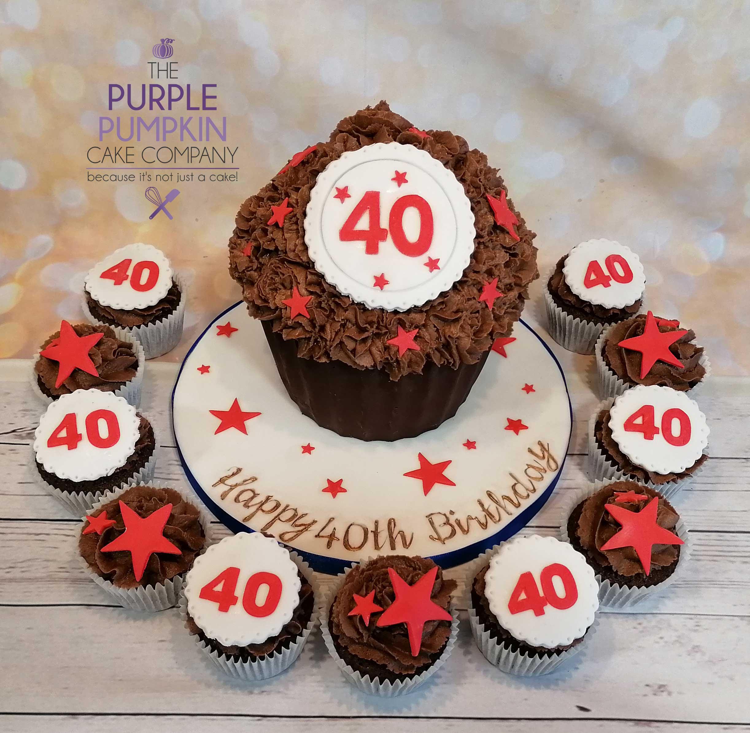 40th Giant cupcake, 12 cupcakes