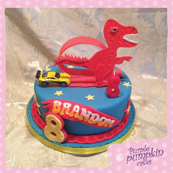 Hotwheels dinosaur cake