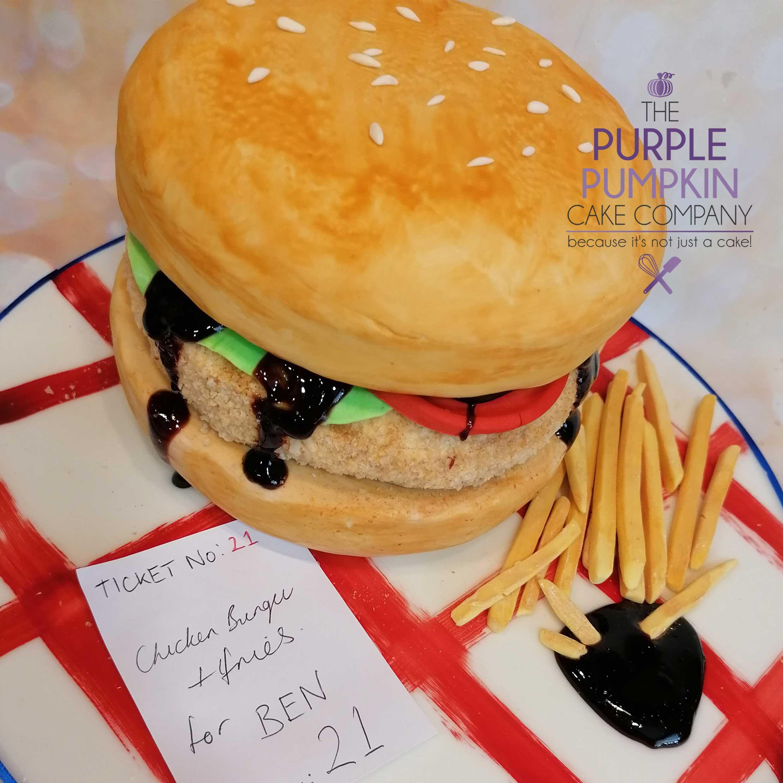 Chicken burger cake