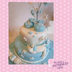 Blue Booties christening cake