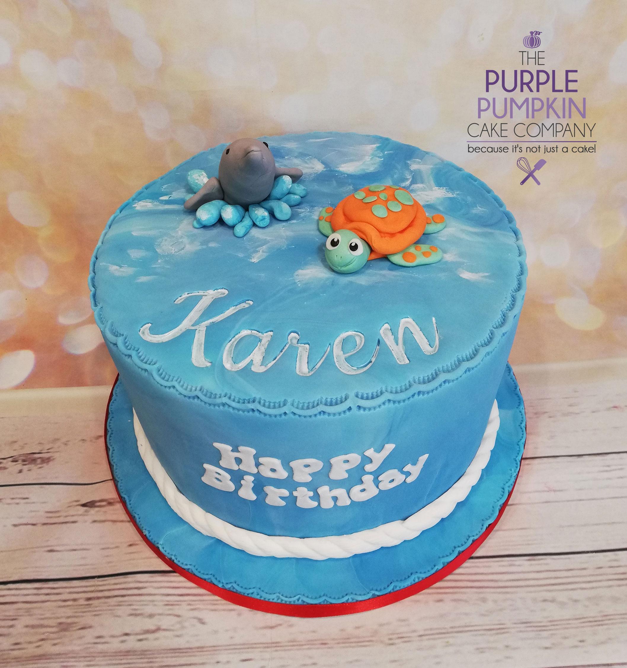 dolphin / turtle cake