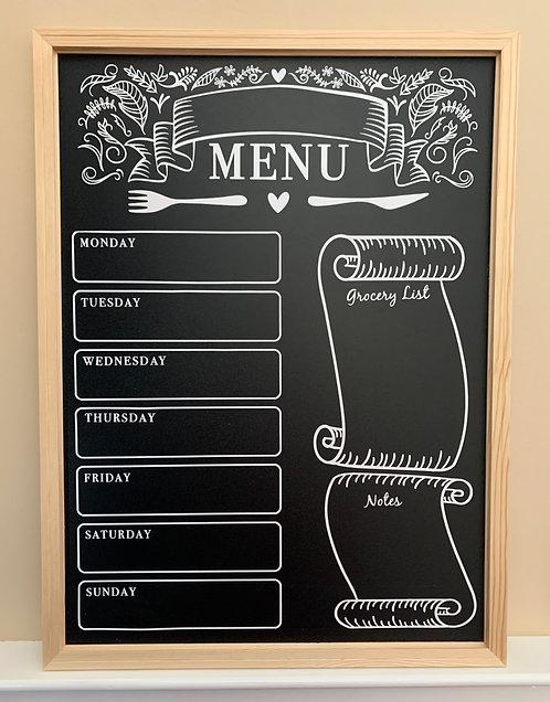 Custom Weekly Menu Chalkboard