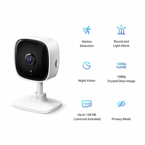 TP-Link C100 Tapo Indoor Smart Security Camera with Night Vision Mode, 1080p