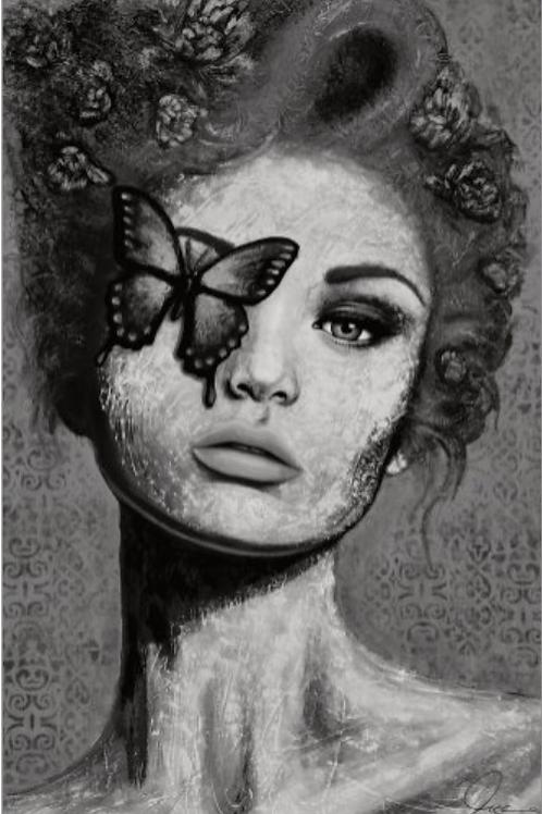 CARTE LADY BUTTERFLY (noir & blanc)