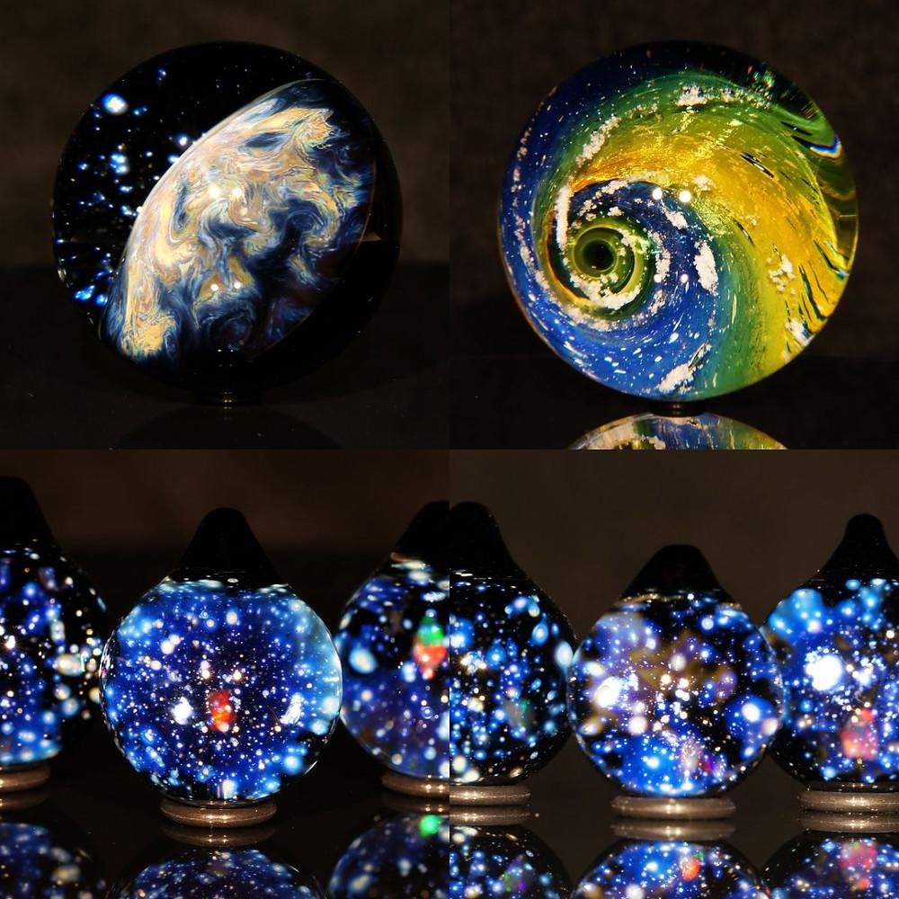 宇宙 地球 銀河 ガラス 星 早川和明 ガラスアート ガラスオブジェ ガラスペンダント