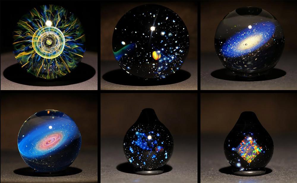 早川和明 ガラスアート 宇宙 銀河 星 ペンダント オブジェ 宇宙の眼