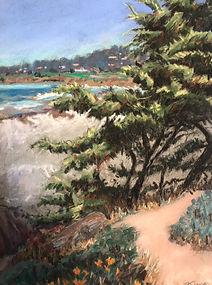 Carmel Beach Looking South pastel 9x12 Jeanne Legan.jpg