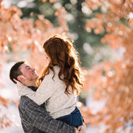 Snowy Post Falls Engagement at Falls Park