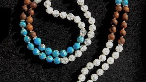 """Handgeknüpfte Mala Halskette """"Luft Wasser Erde"""""""