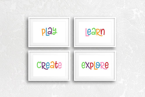 Play Learn Create Explore / Set of 4