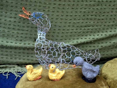 021 - The Ugly Duckling Performance - Painted Chicken-wire Duck and Papier-mache Ducklings