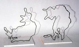 - Wolfmen - Steel-wire Sculptures - 17x13x11 [approx each]