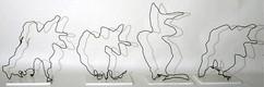 - Wolfmen - Steel-wire Sculptures - 18x15x6 [approx each]