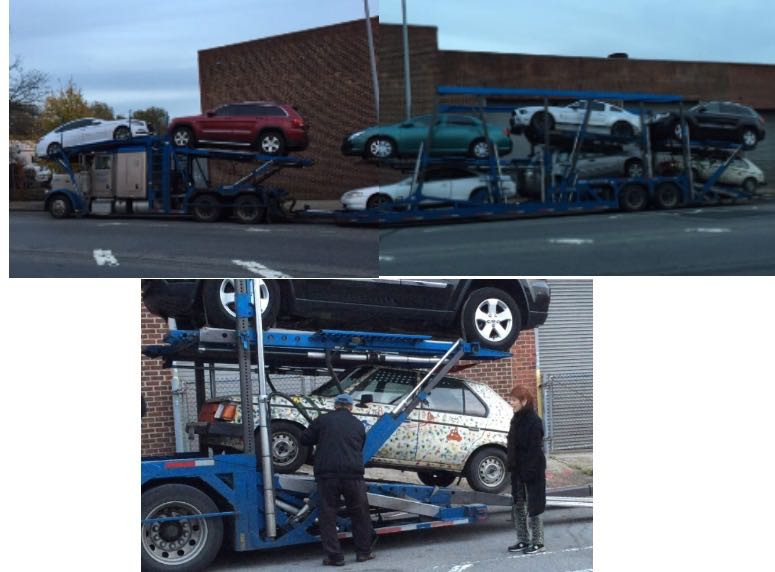 The Dodge being transported to The Art Car World Museum