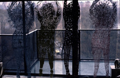 Hanging Sculptural mixed media on fiberglass screens (life size), see through have many applications.