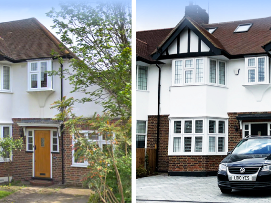 Private house - Esher : Remodelling of house with additional 2 storey, front bay, side and rear extensions.