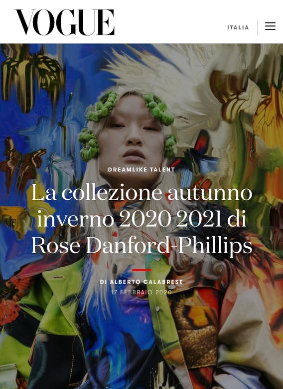 Campaign for Rose Danford Phillips, Vogue italia