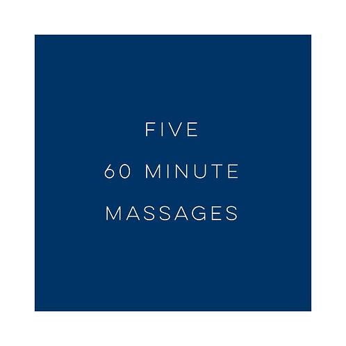 Five 1 Hour Massages