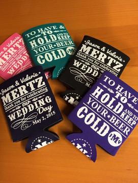 Koozies I designed for the Jason Mertz and Valerie Hughson wedding this weekend!