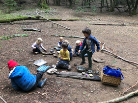 The Mud Kitchen is fun and builds social skills. Mud has physical health and mental health benefits.