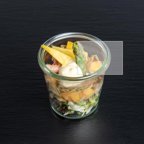 grüner Spargel-Mango-Salat mit Eismeergarnelen