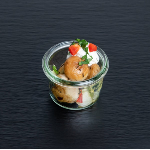 Gebratene und mit feinem Aceto Balsamico marinierte Champignons