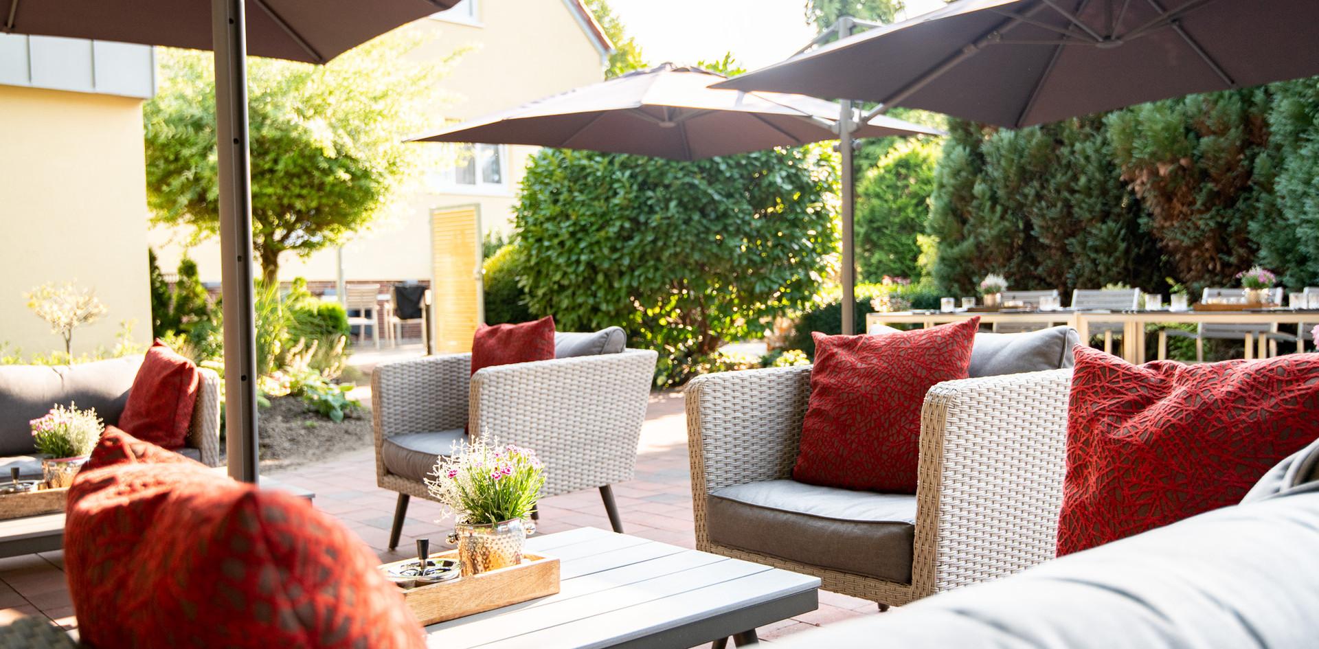 gemütliche Lounge Gartenterrasse Hotel Wegner - the culinary art hotel